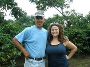 Kelly and Yesenia´s dad on the coffee plantation