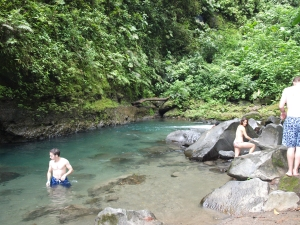 Swimming area next to the waterfall