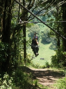 Kim coming in on the zipline