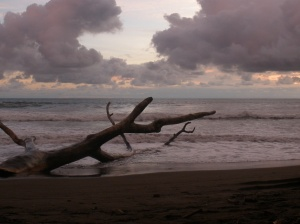 Dominical beach around sunset