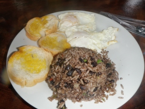 Gallo Pinto, Eggs, and Toast