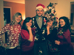 Thiago and the ladies at Tacky Xmas Sweater Party.